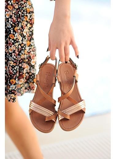 Pembe Potin A202-20 Kadın sandalet Taba